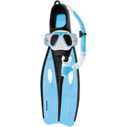 CHALLENGER SILICONE MASK SNORKEL & FIN SET - X/LGE - SKY BLUE