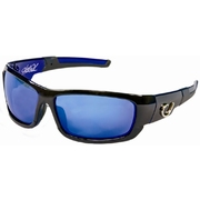 Mustad Hank Parker Polarized Sunglasses-Black Hard Frame with Rubberised Arms, Blue Revo Lens-MHP101A01