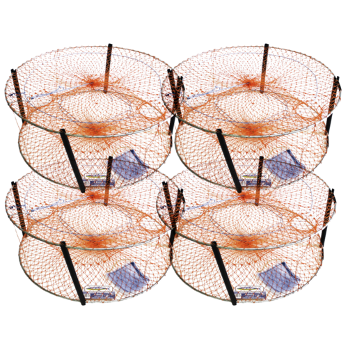 4 X Wilson 4 Entry Crab Pot 800Mm - Orange Mesh