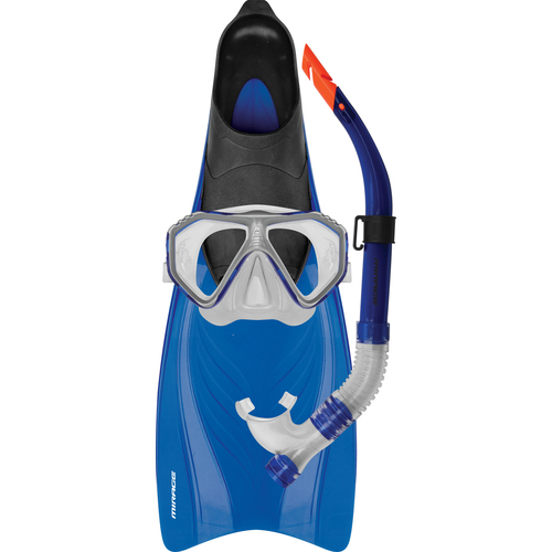 Mirage Bahamas Silitex Mask Snorkel & Fin Set - Medium/Large - Blue
