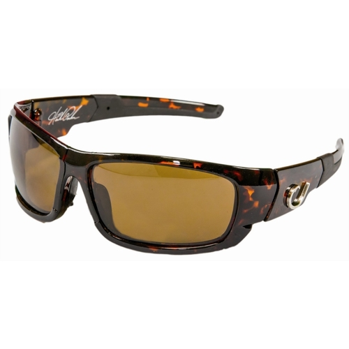 Mustad Hank Parker Polarized Sunglasses-Tortoise Hard Frame With Rubberised Arms, Amber Lens-Mhp101A03