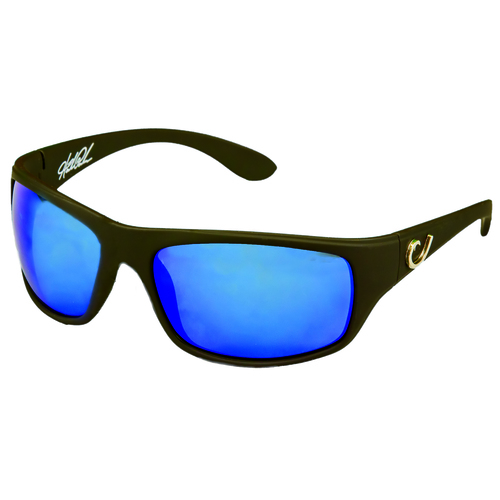 Mustad Hank Parker Polarized Sunglasses-Black Frame With Blue Lens-Hp102A-1