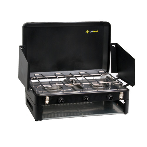 Oztrail Double Burner Low Pressure Stove With Grill
