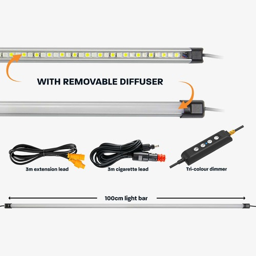 Hard Korr 100cm Super Bright White & Orange Led Light Bar - 1300 Lumens