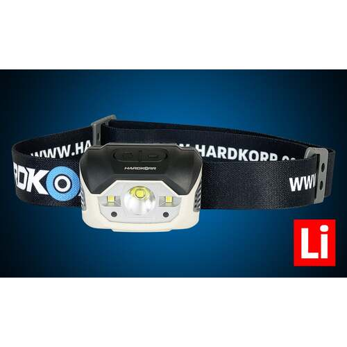 Hard Korr Rechargeable Head Torch With Hands-Free Mode - 440 Lumen