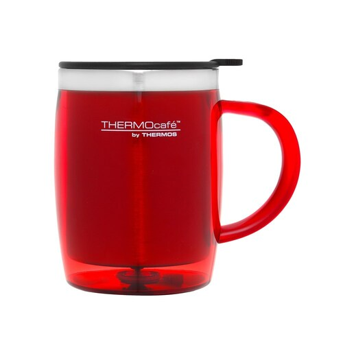 Thermos 450ml THERMOcafé Stainless Steel Inner, Plastic Outer Desk Mug - Red